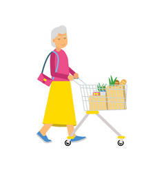 senior woman character walking with shopping cart vector image