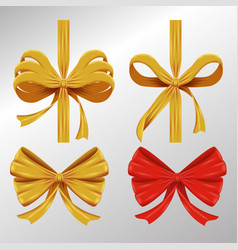 set ribbon bow accessory to gift decoration vector image