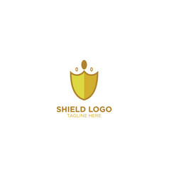 Shield with crown logo design template vector