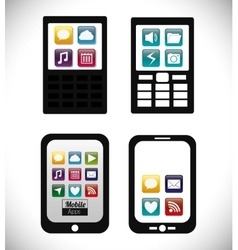 Smartphone cellphone mobile apps design vector