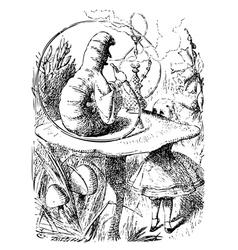Smoking Caterpillarin Alice in Wonderland vector image vector image