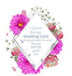 spring flowers card watercolor beautiful vector image