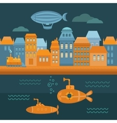 Steampunk city vector