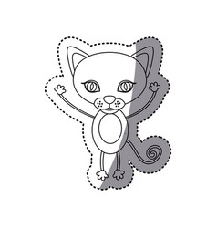 Sticker silhouette picture cute cat animal vector