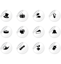 Stickers with thanksgiving icons vector image