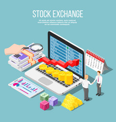 stock exchange isometric composition vector image