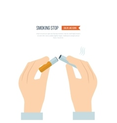 Stop smoking human hands breaking the cigarette vector