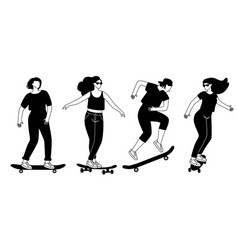 Street longboards silhouettes vector