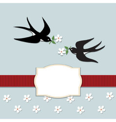 Swallows and flowers vector image