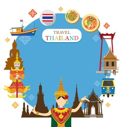 Thailand Landmark Objects Icons Frame vector