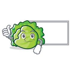 thumbs up with board lettuce character cartoon vector image