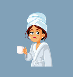 Tired woman holding coffee mug in morning vector