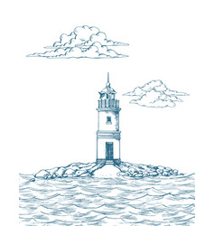 tokarevskiy lighthouse in vladivostok vector image