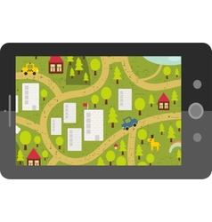 Touch screen tablet gps with cartoon map vector image