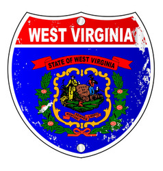 West virginia flag icons as interstate sign vector