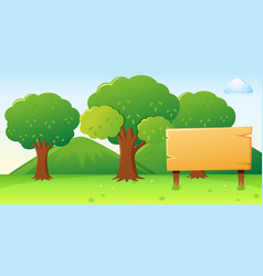 wooden sign template with forest background vector image