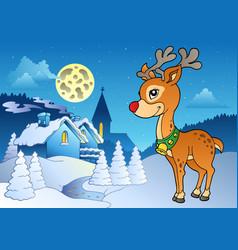 young christmas reindeer outdoor 2 vector image