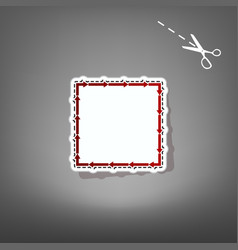 arrow on a square shape red icon with for vector image