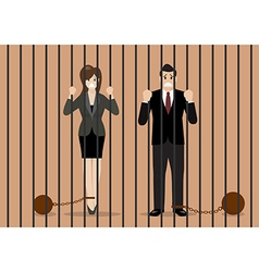 Business people with weights in prison vector