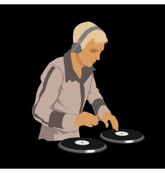 DJ Wearing Headphones and Scratching a Record on vector image vector image