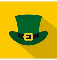 Green top hat with buckle icon flat style vector image vector image