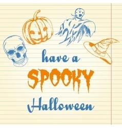 Halloween doodle - pumpkin ghost hat and skull vector image