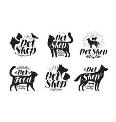 pet shop label set animals dog cat parrot vector image