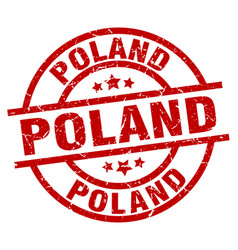 poland red round grunge stamp vector image vector image