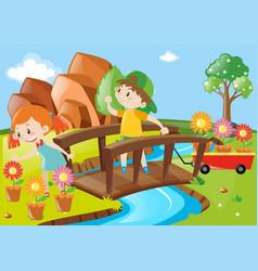Boy and girl in garden vector