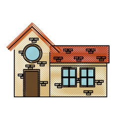 drawing house door round window brick residential vector image vector image