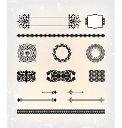 set of abstract antique flourish pattern vector image vector image