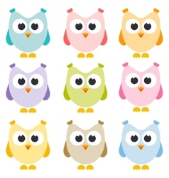 set of owls isolated on white vector image vector image