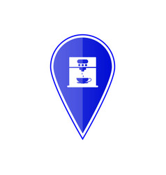blue map pointer with coffee maker machine vector image