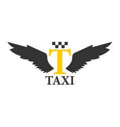 business class taxi logotype with abstract angel vector image