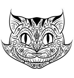 hand drawn outline doodle cat head zentangle vector image vector image