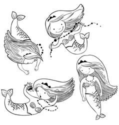 set with cute mermaids vector image vector image