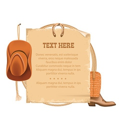 western cowboy hat and american lasso old paper vector image vector image