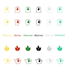 a set of icons for different types of tea vector image vector image