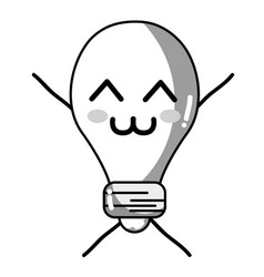 Line kawaii cute tender bulb energy vector