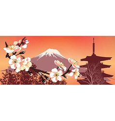 Sakura mountains vector image