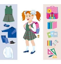 Set objects for the school vector image