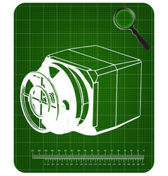 3d model of the safe on a green vector image