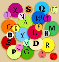 Alphabet on multicolor circles vector image