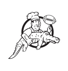 american football chef gator mascot circle vector image