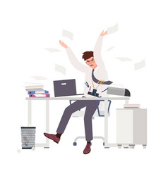 angry male clerk sitting at desk and throwing vector image