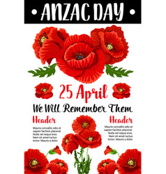 Anzac day red poppy war memorial card vector