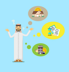 Arabian businessman think about investing vector
