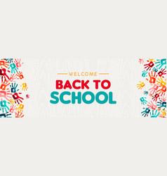 back to school banner diverse kid hand prints vector image