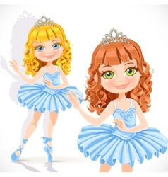 Beautiful little ballerina girl in tiara and blue vector image