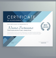Blue certificate design in professional style vector